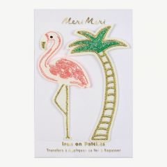 """Flamingo and Palm Tree"" Flicken zum Aufbügeln"