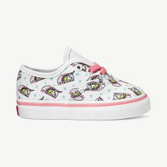 """TD Authentic"" True White/Strawberry Pink Sneakers with Unicorn Print"
