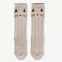Sofia Cotton Knee Socks Cat in Sweet Rose (2 pack)