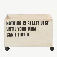 Wooden Storage Box with Wheels and Quote