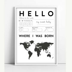 """Baby Hello"" Black-and-Off-white Poster with Print"