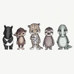"""Rainforest Friends"" Wandsticker mit Tier-Motiven"