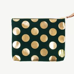 Clutch with Gold Polka Dots in Green