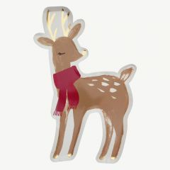 Christmas Woodland Deer Party Plates in Brown - Pack of 8