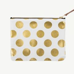 Clutch with Gold Polka Dots in White