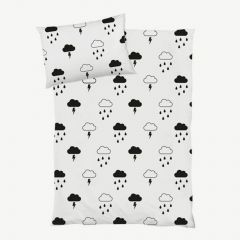 """Storm Boy"" White Kids' Bedding with Cloud Print"