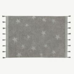 Hippy Stars Washable Rug in Grey