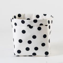 Cotton Box with Black Polka in White