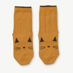Silas Cotton Socks Cat in Mustard (2 pack)