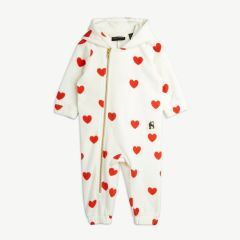 Hearts Overall aus recyceltem Fleece in Offwhite