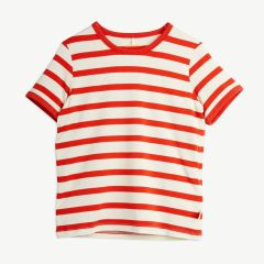 Stripe Shirt aus Tencel in Rot/Weiß