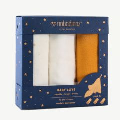 """Box Baby Love"" 3er-Pack Mulltücher in Gelb"