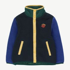 Color Block Jacke aus Fleece in Navy