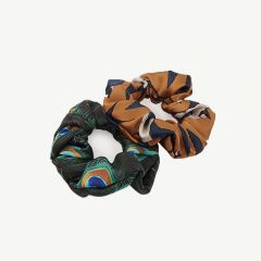 Peacock & Swallow Scrunchies/ Haargummis in Bunt - 2er-Pack