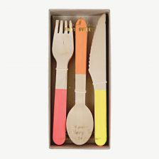 Neon Wooden Kids' Cutlery Set