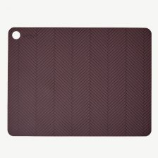 Bordeaux Red Placemat Set with Lines (2 Pieces)