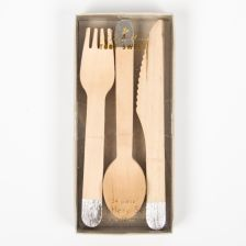 Wooden Party Cutlery with Silver Handles
