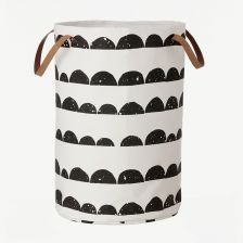 Black-and-White Laundry Basket with Half Moon Print