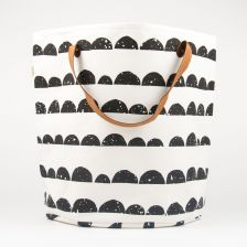 Black-and-White Basket with Half Moon Print