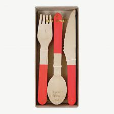 Red Wooden Kids' Cutlery Set