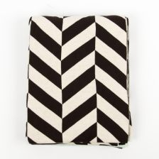 """Mumi"" Brown-and-White Blanket with Stripes"