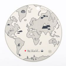 """The World"" Tischset mit Weltkarte in Grau"